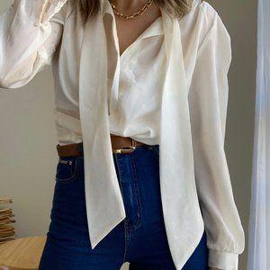 Cream Secretary Necktie Boxy Blouse Button Up